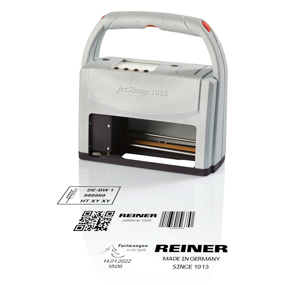 Print text, graphics and barcodes with the jetStamp 1025